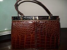 GORGEOUS True Vintage Lesco Chocolate Brown Alligator/Croc Handbag Excellent Con