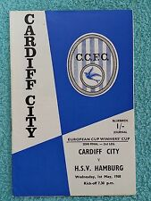 1968-COPPA DELLE COPPE CUP Semi Final 2nd LEG programma-Cardiff City V Amburgo