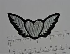 Flying Heart Wings - Club Harley Biker Funny Motorcycle Iron On Small Patch