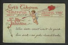 Valentine's Day Postcard 201 Love Telegram Cupid Quill Arrow Vintage
