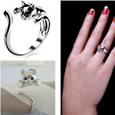 Silver P Cute Cat White K Kitten Bound Animal Black Crystal Eyes Finger Ring