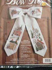 Door decoration kit, bow tie cross stitch Winter Wonderland Wreath New