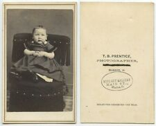 ANTIQUE CDV PORTRAIT OF TODDLER ON POSING STOOL FROM MARION, OHIO, STUDIO