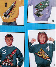 "#95 Boy Girl Thunderbirds 9x A4 Charts DK Sweater 24-40"" Vintag Knitting Pattern"