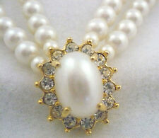 """Vintage Avon 2-strand faux pearl 15-17"""" choker necklace with rhinestones"""