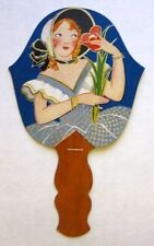 Vintage Bridge Tally Hand Fan w/ Deco Woman Flower B