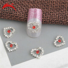 10 x 3D Silver Glitter red heart Rhinestones Nail Art Bowknot DIY Decorations D2