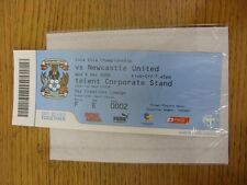09/12/2009 BIGLIETTO: COVENTRY CITY V Newcastle United (SKY Creations Lounge). UNL