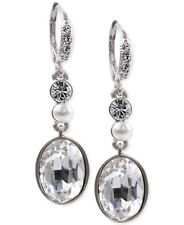 GIVENCHY Swarovski Clear Crystal Faux Pearl Silver-Tone Drop Leverback Earrings