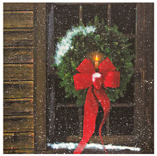 New Country Rustic Log Cabin CHRISTMAS WREATH CANDLE WINDOW Lighted Picture