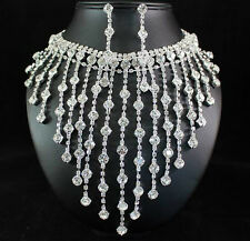 HUGE CHARM CLEAR AUSTRIAN RHINESTONE CRYSTAL NECKLACE EARRINGS SET WEDDING N1438