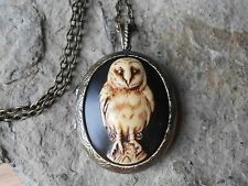 BARN OWL CAMEO LOCKET (hand painted brown) - VINTAGE LOOK, VICTORIAN, STEAMPUNK
