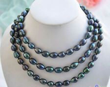 """9-10mm New Tahitian Black Natural Pearl Necklace 48"""" AAA"""