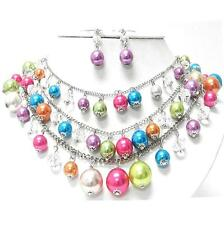 Blue Pink Green Orange Purple Pearl Crystal Necklace Set Elegant Costume Jewelry