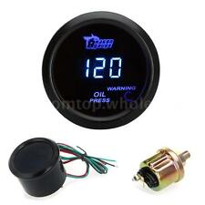 "Blue LED 2"" Digital Auto Car Oil Pressure Gauge Meter with Sensor 0~120PSI"