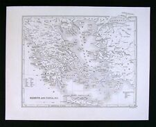 1847 Boynton Map - Ancient Greece & Ionia Athens Crete Sparta Naxos Aegean Sea