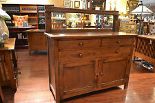 Crafters and Weavers Mission Solid Oak Sideboard Buffet with Back Mirror