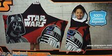 STAR WARS HOODED TOWEL 22 IN X 51 IN DARTH VADER & R2 D2 DESIGN BOYS