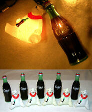 1996 COCA-COLA LIGHT SET 10 Coke Bottles Polar Bears Christmas String Decoration