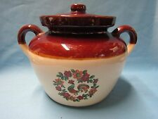 VINTAGE McCOY POTTERY BROWN AND WHITE GLAZED ROOSTER IMAGE TWO QUART BEAN POT