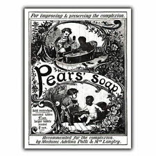 PEARS SOAP METAL SIGN WALL PLAQUE Vintage Bathroom Kitchen Advert art print 1880