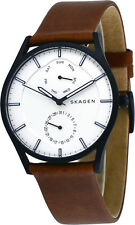 Skagen SKW6317 Men's Black IP Holst Leather Band MultiFunction Day Date Watch