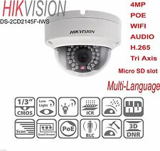 HIKVISION DS-2CD2145F-IWS 4MP POE WIFI AUDIO Micro SD TF Tri Axis IP Camera Dome