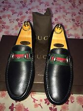 Gucci 322741 Horsebit Leather Driver Loafer Webb Detail Shoe Uk 6.5Made In Italy