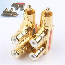 2 pcs Gold #S Plated AV Audio Splitter Plug RCA Adapter 1 Male to 2 Female