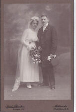 ANTIQUE CABINET PHOTOGRAPH. WEDDING. BRIDE @ GROOM. GERMAN STUDIO