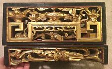 Antique Chinese Wood Gold Gilt Carved Lacquer Box 11 Inches