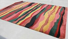 R372 Multicolored Stripe Tibetan Woolen Rug 9' X 12' Handmade In Nepal
