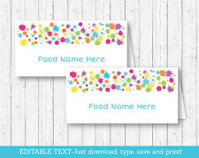 Art Party Buffet Tent Cards & Place Cards Editable PDF