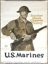 Original WW1 Poster 1918 WW1 US Marines Marine Corps Battle USMC Belleau Wood