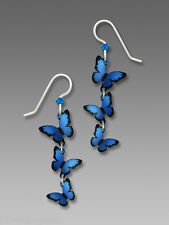 Sienna Sky 3 Part 3D Blue Morpho BUTTERFLY EARRINGS STERLING Silver - Gift Boxed