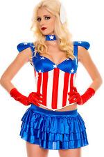 Sexy Vintage Style American Dream Superhero Flag Stars Deluxe Costume Large
