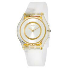 Swatch SFE105 Women's Silver & Gold Dial White Silicone Band Watch