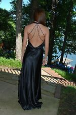 Black satin finish pageant prom cruise gown NWT $299 sz 6
