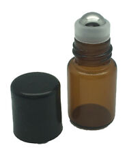 12 2 ml Amber Glass Vials with Metal Roll-Ons and Black Caps