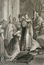 Le Sacre Joséphine de Beauharnais Napoléon Ier Empire Français Gravure 1854