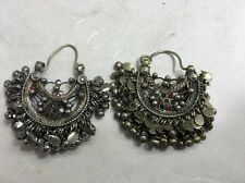 Afghanistan Middle Eastern Kuchi Silver and Glass Earrings