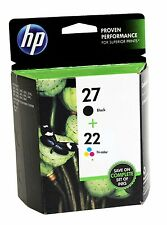 2 Genuine HP # 27 & 22 Inkjet Cartridges (1 - 27 & 1 - 22) No Box but SEALED BAG