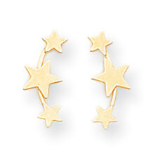 14K Yellow Gold 3-Star Stud Earrings Push Back Madi K Children's Jewelry