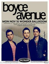 BOYCE AVENUE 2014 PORTLAND CONCERT TOUR POSTER - Pop/Alternative Rock Music