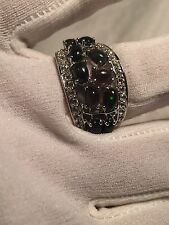 Vintage Deep Toned Green Natural Black Fire Opal 925 Sterling Silver Ring