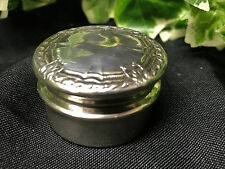 Lovely Antique Vintage Small Round Silver Rope Pill Box / Bonbonniere