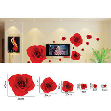 Modern Home Wall Sticker Red Rose Flower Home Room DIY Removable Decal Decor