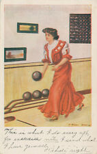 Lady Bowling at Alley ca. 1908 * F. Earl Christy * Soap Making Message on back