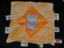 doudou plat hippopotame jaune orange étiquettes palmier INFLUX CORA (7 dispo)