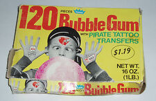 1960's FLEER Pirate Tattoo Bubble Gum Display Box tatoo trading card